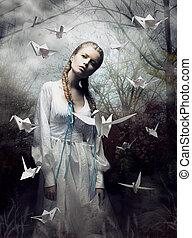 mystery., origami., vrouw, met, witte , papier, pigeon., elfje, tale., fantasie