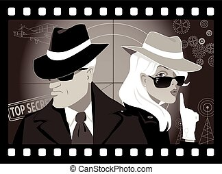 mystery people - Mysterious couple of secret agents in an...