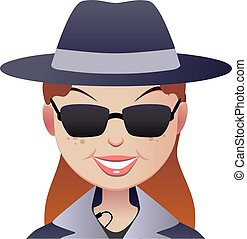 Mystery secret shopper woman face. - Mystery red-haired...