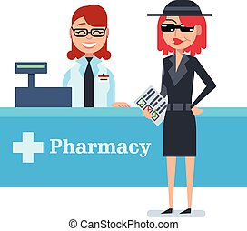 Mystery shopper woman in spy coat checks drugstore