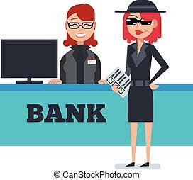 Mystery shopper woman in spy coat checks bank