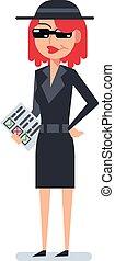 Mystery shopper woman in spy coat