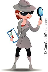 Mystery shopper woman in spy coat, boots, sunglasses and hat...