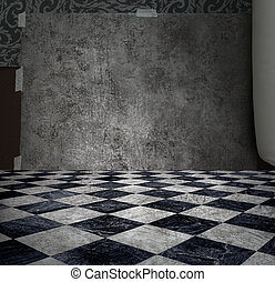 Mystery silver wall - Rough patina silver wall in checkered...