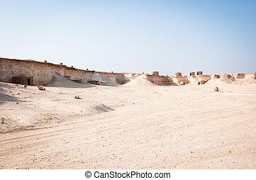 Mystery village in Zekreet desert, Doha, Qatar