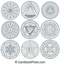 Mystery, witchcraft, occult, alchemy, mystical vintage gothic vector tattoo symbols