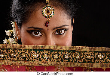 Mystery young Indian woman - Portrait of beautiful mystery...