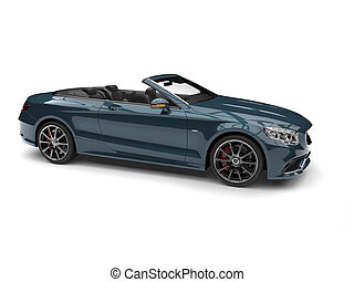 Mystic blue modern luxury convertible car