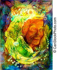 Mystic bright green water fairy, beautiful colorful fantasy painting