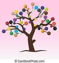 mystic button tree with color buttons for clothing eps10