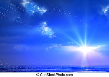 blue sunset sky background