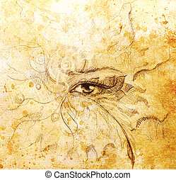 Mystic eye with floral ornament. Drawing on paper, Color effect. Eye contact.