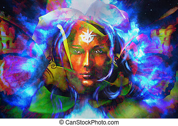 mystic face women with butterflies, color background collage...