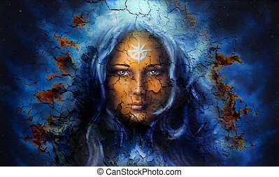 mystic face women, with structure crackle background effect...