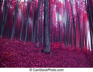 Mystic fantasy pink forest