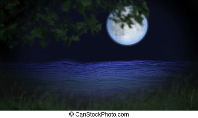 Mystic forest moon and river