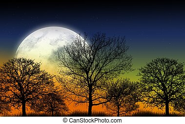 Mystic Garden Illustration. Large Full Moon and Shapes of...
