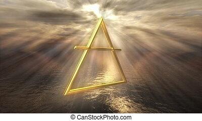 Mystic golden air horoscope symbol - 3D rendering image of a...