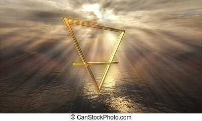 Mystic golden earth horoscope symbol - 3D rendering image of...