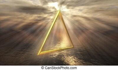 Mystic golden fire horoscope symbol - 3D rendering image of...