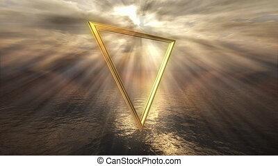 Mystic golden water horoscope symbol - 3D rendering image of...