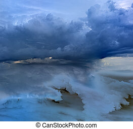 The evening sky with cumulus clouds. It is combined from two layers