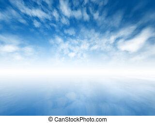 Mystic horizon - Blurred misty abstract infinite sky