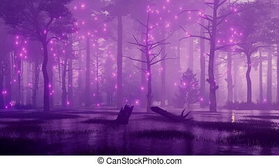 Mystic lights in fairytale swampy night forest 4K -...