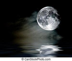 mystic moon shine - moon sets into the cloudy sea