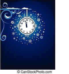 Mystic old clock at night