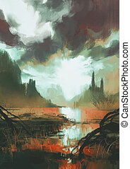 mystic red swamp at sunset - fantasy landscape of mystic red...