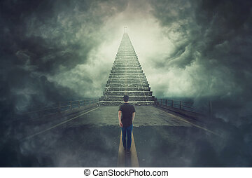 wanderer guy confident walking a surreal road and found a magic stairway going up to a door in the sky
