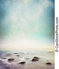 Mystic Shore - Mist and fog rising from a rocky ocean shore....