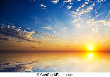 mystic sunset on the  sea - orange mystic sunset on the  sea