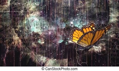 Butterfly on surreal dark art background with mystic symbols