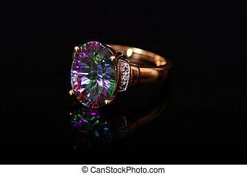 Mystic Topaz Diamond Gold Ring