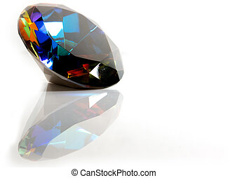 Round cut faceted Mystic Topaz gemsone on white background with reflection