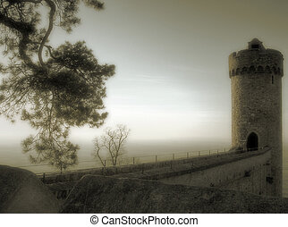 mystic tower - fairy tale like tower of ancient castle in...