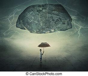 mystic umbrella protection - Surrealistic image as a man...
