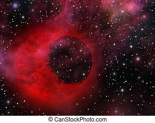 Mystic universe with weird planet - Image, illustration of...