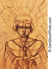 Mystic woman and sword. pencil drawing on old paper. Mosaic structure color effect and.