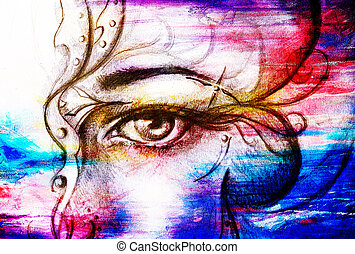 Mystic woman eye with ornament. pencil drawing on old paper. Color effect.
