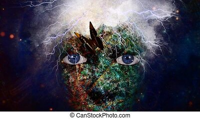 Spiritual composition in dark art style. Glowing mystic woman's face with lightnings and butterfly