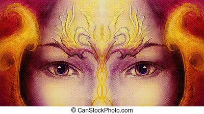 Mystic woman face with gold ornamental tattoo and two phoenix birds, purple background. eye contact.