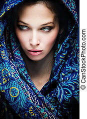 mystic woman - beautiful woman face with oriental scarf...