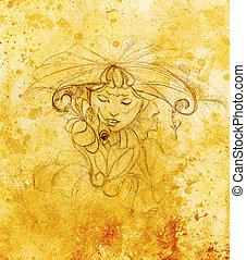 mystic woman with flower. pencil drawing on paper, Color effect.