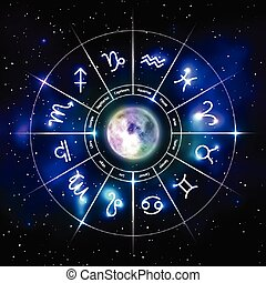 Mystic zodiac wheel with star signs in neon style - Mystic ...