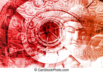Mystical Asia Montage Abstract Background Wallpaper