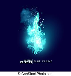A mystical magic blue fire flame. Vector illustration.