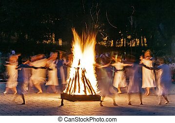 Mystical dance on the night called Sanzienelor. Magical night in Romanian folklore.